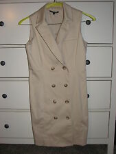 Ladies Gianni Bini button front khaki sleeveless dress size 8 EUC Career Wear