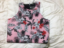 COTTON ON 'ALANIS' CUT AWAY FLORAL CROP TOP NEOPRENE BNWT SZ L FREE POST (A55)