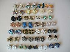 VINTAGE LARGE LOT 1950s BEADED CLIP EARRINGS GERMANY JAPAN GLASS LUCITE JEWELRY