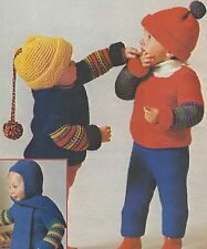 Chunky Baby Sweater, Hat, Leggings and Hat with Scarf Knitting Pattern 770