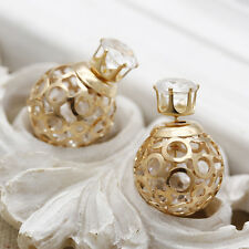 Women Gold Plated Double Sides Crystal Ball Ear Studs Earrings 1 PAIR