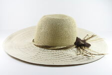 RETRO LADIES BEIGE / CANVAS HAT WITH STRAW TOP RETRO VINTAGE DESIGN(HT24)