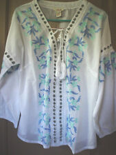 SUNDANCE CATALOG  BLUE EMBROIDERED MOROCCAN DREAMS TOP-NWT- SZ. LARGE ONLY