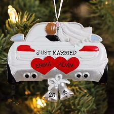 "Wedding car ""JUST MARRIED"" Christmas Tree Ornament for Personalization"