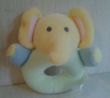 The Childrens Place Stuffed Plush Elephant Baby Rattle Pastel Colors NWOT