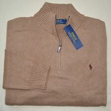 New 4XLT 4XL TALL 4XT POLO RALPH LAUREN Mens half zip Sweater Brown jumper NWT