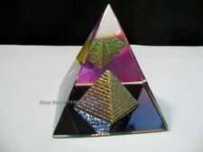 "Feng Shui Egypt Egyptian Crystal Clear Pyramid REIKI Healing Prizm Amulet 3""H BN"