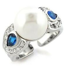 Silver Sapphire Pearl Cocktail Ring Montana Blue Cubic Zirconia Plus Size 11 USA