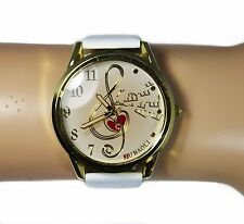 Quartz Wrist Watch White Band Treble Clef Music Notes Gold Tone
