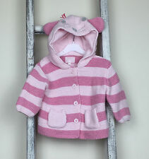 Baby Girl Next Cardigan Size 3-6 Months Pink Stripe Mouse Hood Knitted Spring