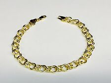 14k Yellow Gold Double Circle Link Charm Bracelet 2.6gr  7 Inch  6 MM