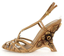 MIU MIU Brown Leather Floral Carved Wood Wedge Strappy Sandals 40