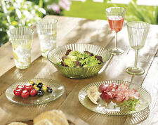 SET OF 2 ACRYLIC ELEGANT GLASS EFFECT FLUTED SERVING PLATES - IDEAL FOR PICNICS