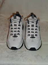 SKECHERS Sport Mens Shoes Size 8.5 White Leather/Synthetic Upper Laces VERY