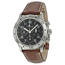 Breguet Type XX Aeronavale Automatic Chronograph Black Dial Brown Leather Mens