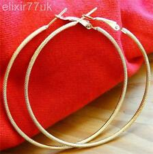 UK NEW BIG GOLD TONE LARGE HOOP EARRINGS 60MM HOT POSH SHINY HOOPS FREE GIFT UK
