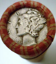 OLD ESTATE COINS - MERCURY DIME AND INDIAN SHOWS ON UNSEARCHED WHEAT ROLL #SA2