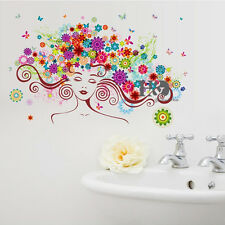 Flower Beauty Woman Vinyl Arts Removable Decals Wall Stickers Living Room Decor