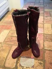 Maroon Leather Boots Size 38/5 By Les Lolitas