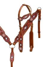 WESTERN BLING ! LEATHER HORSE BRIDLE HEADSTALL W/ REINS & BREAST COLLAR PLATE
