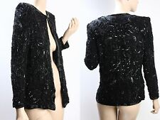 VINTAGE black embellished SEQUIN trophy COCKTAIL DRESS blazer trophy JACKET S M