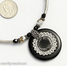 Chico's Signed Necklace Silver Tone Fancy Cut Black Center Gray Crystal Accents