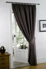 Chocolate 66'' x 84'' Supersoft Blackout Thermal Pencil Pleat  Door Curtain