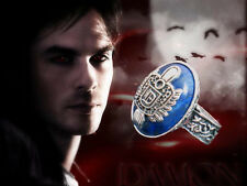 Boxed Silver Plt. Faux Lapis Vampire Diaries Damon Sun Crest Protection Ring sz9