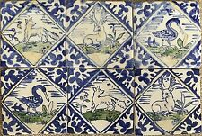 "Set of six Hand made Delft Style Polychromatic Tiles 5""Square"