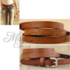 Retro Lady Girl Thin Leather Floral Carving Waist Buckle Belt Brown Color E