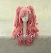 Lolita Long pink clip on ponytails Enoshima Junko cosplay wig +a wig cap