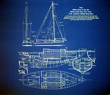 "Sailboat Sloop Sailing Boat 1936 Blueprint Plan 20""x24""  (010)"
