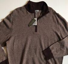 Daniel Cremieux Men Sweater 1/4 Zip Wool Cashmere Brown Heather Sweater XXL NWT