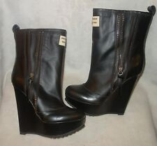 Dsquared 2 ZIPPER WEDGE rubber leather low boots sz 37 $795