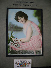ANTIQUE 1926 PROMOTIONAL CALENDAR~EXCEPTIONAL CONDITION~LADY BY THE LAKE