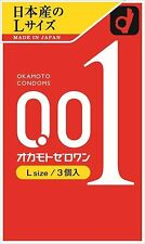 Okamoto (Japan) 0.01 001 Polyurethane Condoms L-Size 3-Pack