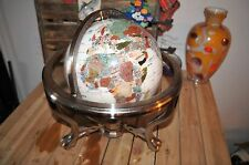 13 in. Gemstone Globe with Gold Colored Ambassador 3 Leg Stand Caribbean