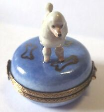Limoges Hand Painted Porcelain White Poodle Dog Standing on Round Trinket Box