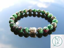 Buddha Ruby Zoisite Natural Gemstone Bracelet 7-8'' Elasticated Healing Stone