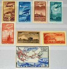 RUSSIA SOWJETUNION 1949 1401-08 C83-90 Map Air Routes Aircrafts Flugzeuge MNH