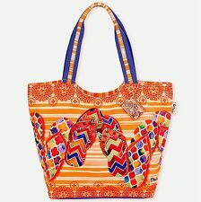 GRADUATION GIFT SUN N SAND LARGE SCOOP TOTE BEACH CRUISE BAG FLIP FLOPS ORANGE