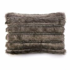 NEW! Jennifer Lopez Bedding Collection Gray Faux Fur Rectangle Throw Pillow