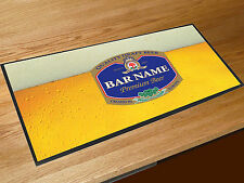Personalised blue beer label bar runner counter mat Pubs Clubs & Cocktail Bars