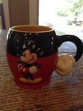 Disney Parks Mickey Mouse Arm Handle Red Black Yellow Coffee Cup Mug Authentic