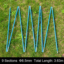 Blue Aluminum Alloy Spare Tent Pole 9 Sections Φ8.5mm 363cm Spare Replacement