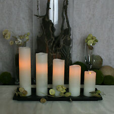 5 Melted Edge Distressed Ivory Wax Amber LED Flameless Pillar Candles w/ Timer