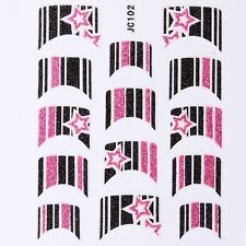 Nail Art Decal Stickers Glitter Nail Tips Pink Black Stars Stripes JC102