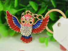 T Owl Red New Keyring Rhinestone Crystal Charm Key Women Bag Chain Pendant Gift