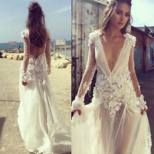 Romantic Flower Applique Wedding Dress Beaded Backless Sheer Bridal Gown 6 8 10+