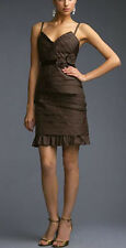 $452 BCBG MAHOGANY (TFF64044) APPLIQUE STRAP SILK TAFFETA DRESS NWT 4